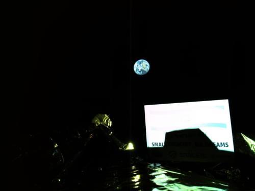 """כדור הארץ מגובה 131 אלף ק""""מ כפי שצולמה על ידי החללית בראשית בשבוע שעבר. צילום: SPACEIL והתעשייה האווירית"""