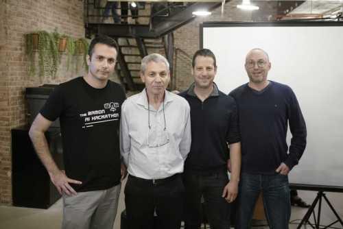 רן לבנה, אבי בלסברגר, אסף סובול ואיתי פישביין. בהאקטון AI from space צילום: שניר קציר