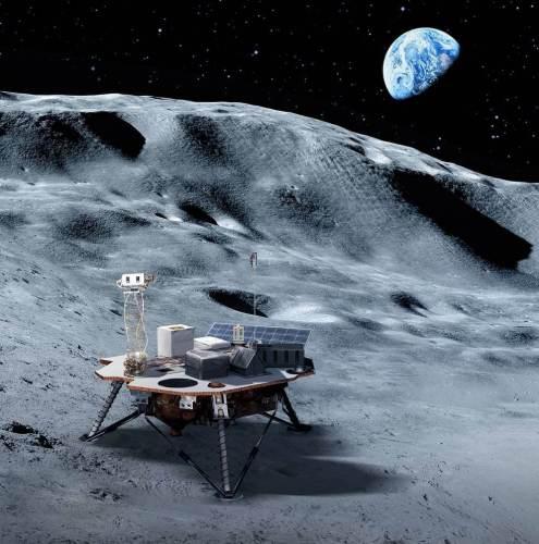 """נחתות מסחריות יישאו מטעדי מדע וטכנולוגיה שתספק נאס""""א אל פני הירח, שיסללו את הדרך לאסטרונאוטים של נאס""""א לנחות על הירח עד 2024. איור: נאס""""א"""