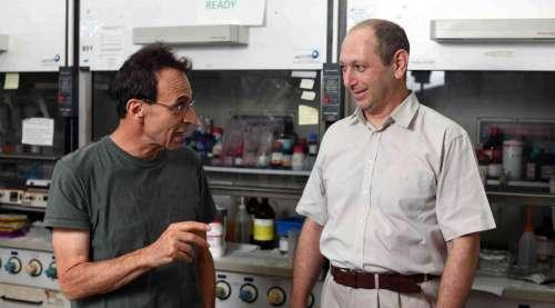 מימין: פרופ' איגור לובומירסקי ופרופ' דוד כאהן. ריפוי עצמי