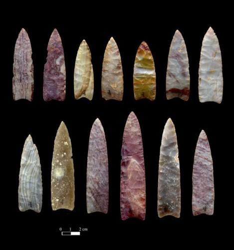 חניתות אבן בנות 13 אלף שנה מקולורדו. צילום: Chip Clark, Smithsonian Institution