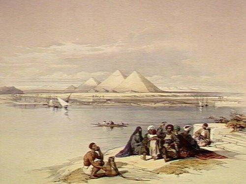 הפירמידות בגיזה כפי שנראות מגדות הנילוס. ציור באדיבות גלריה וולקאם, מתוך ויקיפדיה