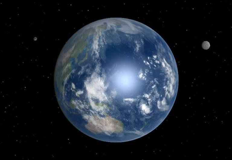 כך היה נראה כדור הארץ לו היו לו שני ירחים. מתוך ויקיפדיה