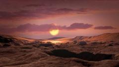 המחשה המראה כיצד עשוי להיראות נוף מקרקע כוכב הלכת Kepler-1649c. איור: NASA/Ames Research Center/Daniel Rutter