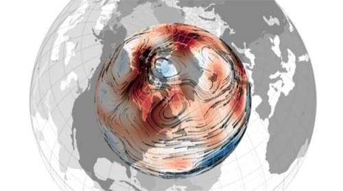 """שלא כמו הקוטב הצפוני הגאוגרפי שלנו, הקבוע על מקומו, הקוטב המגנטי הצפוני נודד לו. עובדה זו ידועה למן מדידתו הראשונה בשנת 1831, שבעקבותיה מופתה תנועתו האטית מהקוטב הקנדי לעבר סיביר. אולם, משנות ה-90 ואילך, הפכה תנועה אטית זו למעין מרוץ – מהיסטוריית נדידה של 0–15 ק""""מ לשנה לקצב נוכחי של 50–60 ק""""מ לשנה. קרדיט: נ' ג'ילט"""