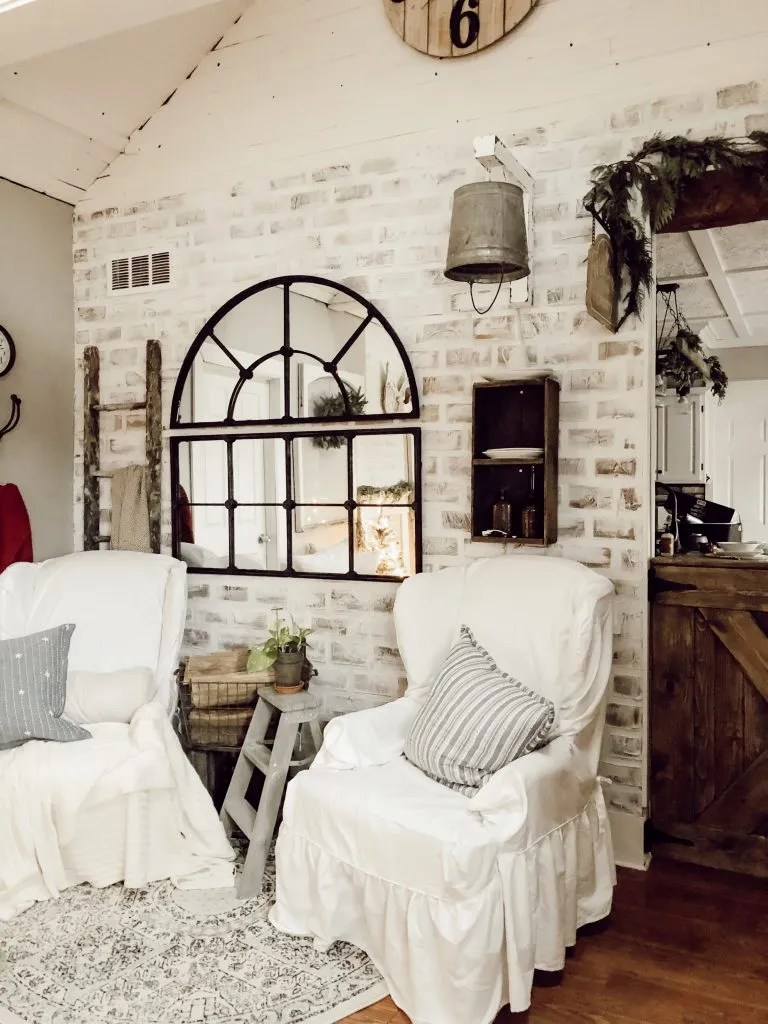 Faux Brick Accent Wall Two Paws Farmhouse