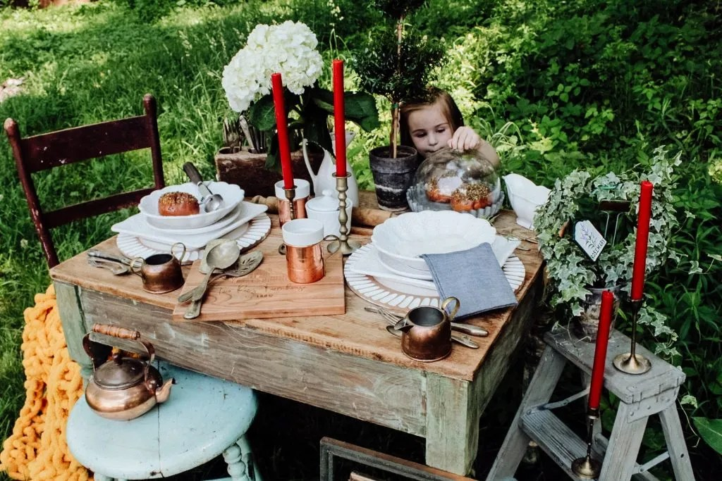 Whimsical Outdoor Brunch & Tea Party | Summer Party Decorations, Outdoor Dinner Parties, Backyard Dinner