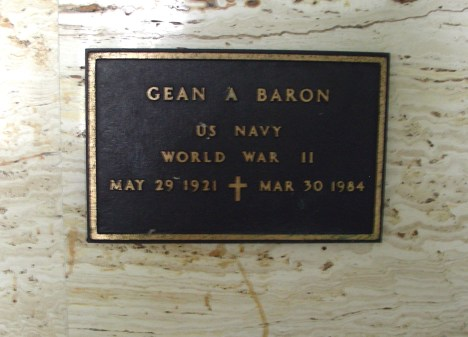 VA Plaque of Gean A. Baron
