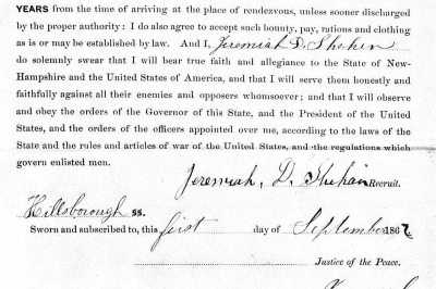 Jeremiah D Sheehan's Service Record to his County