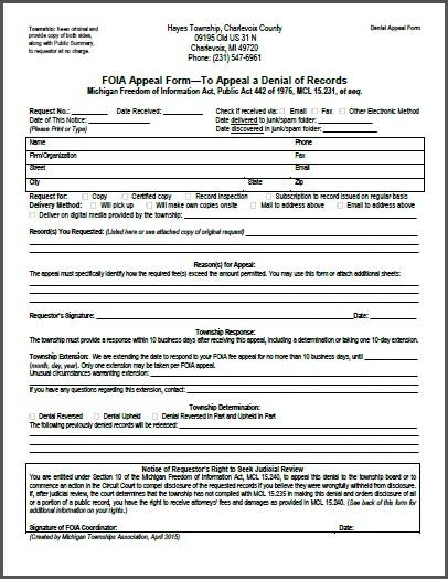 FOIA Denial Appeal Form