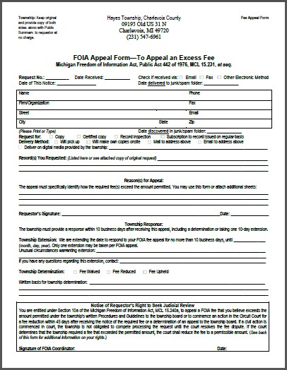 FOIA Fee Appeal Form