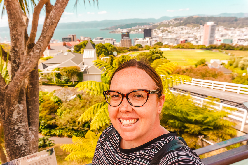 Selfie at Cable Car lookout in Wellington, New Zealand