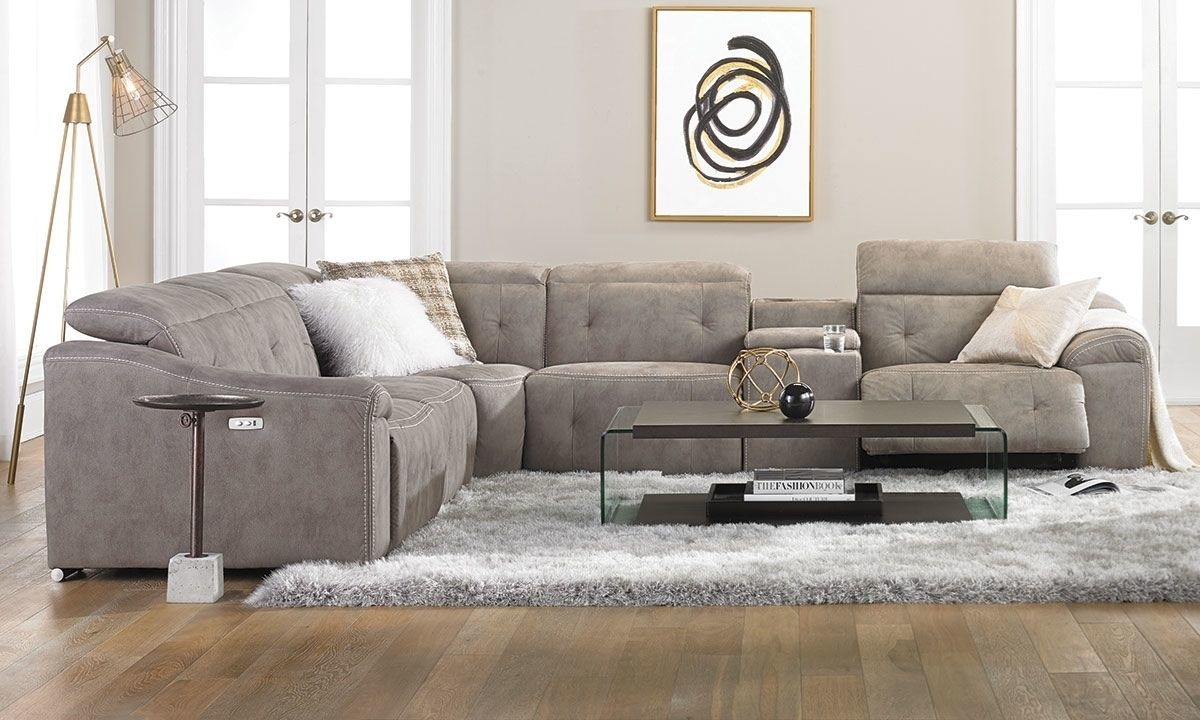 contemporary power reclining storage sectional with usb