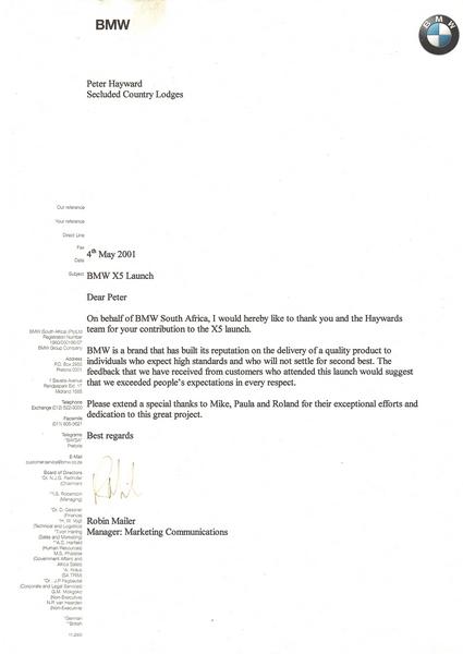 Commendation letter BMW 2001