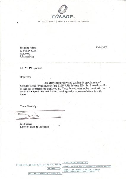 Commendation letter O'Mage 2000