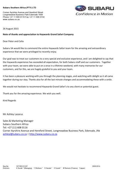 Subaru Commendation Letter