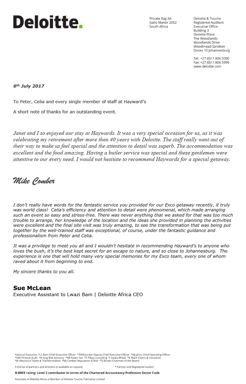 Commendation Letter  Deloitte  Haywards Luxury African Safaris