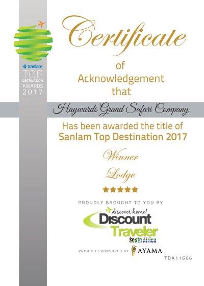 Sanlam Top Destination 2017 Winner