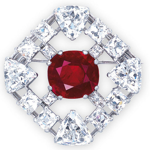 Ruby and Diamond Brooch by Cartier