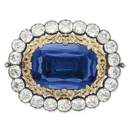 Blue Sapphire Brooch