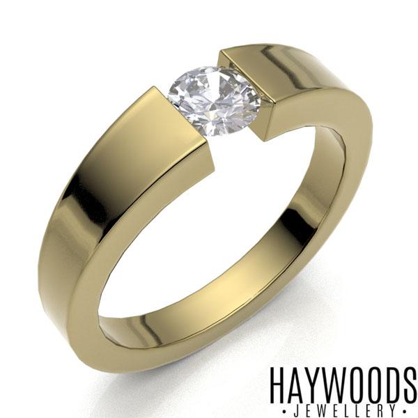 Yellow Gold Diamond Tension Set Ring