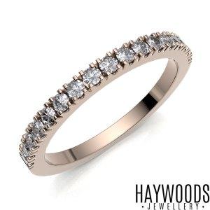Rose Gold Diamond Pave Set Eternity Ring