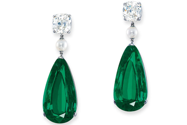 Emerald, Diamond and Pearl Earrings