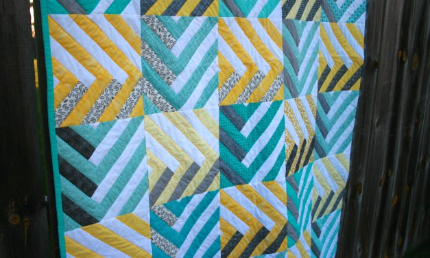 Aqua and Yellow Herringbone Braid Quilt