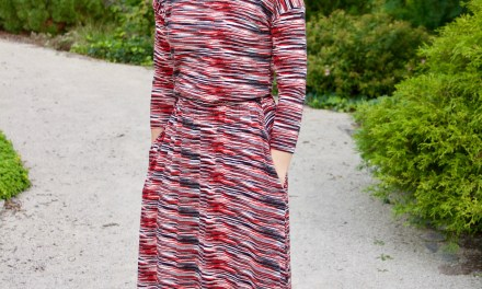 Red and Black Dolman Maxi Dress