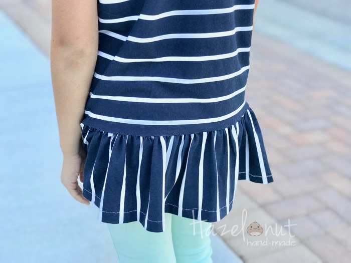 Striped Ruffle Tunic with Hazelnut Handmade