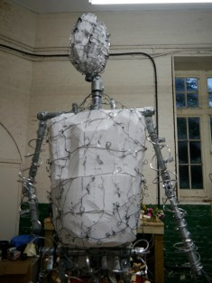 Sir Nigel's torso in polystyrene and the head armature