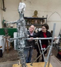 Hazel and Andrew inspect the Our Emmeline armature - photo by Nigel Kingston