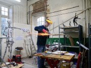 Mark Longworth building the main structure for Emmelines chair - photo by Hazel Reeves