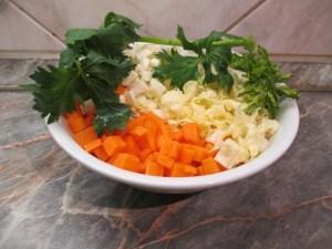 Zöldségek felkockázva