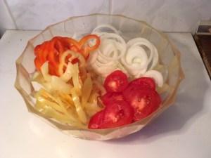 Zöldségek karikára vágva