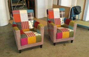 Kleuren stoelen zelf samenstellen Patchwork fauteuil