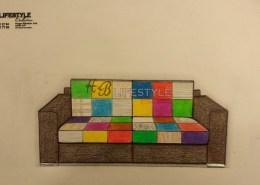 Pachtwork bank kleuren bankstel op ontwerp