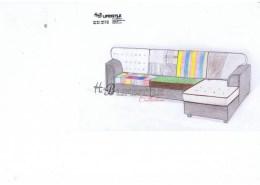 Patchwork tekening ontwerp loungebank
