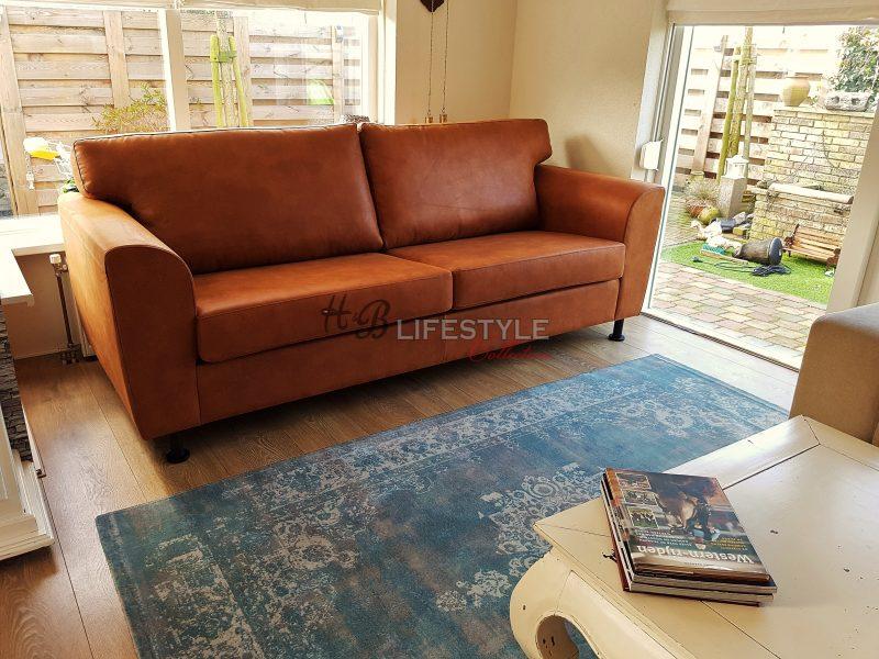 Hoekbank woonkamer industrieel for Cognac kleur combineren interieur