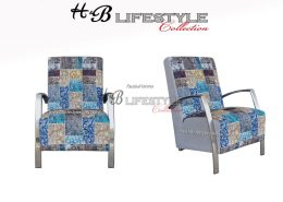 Fauteuil patchwork blauw