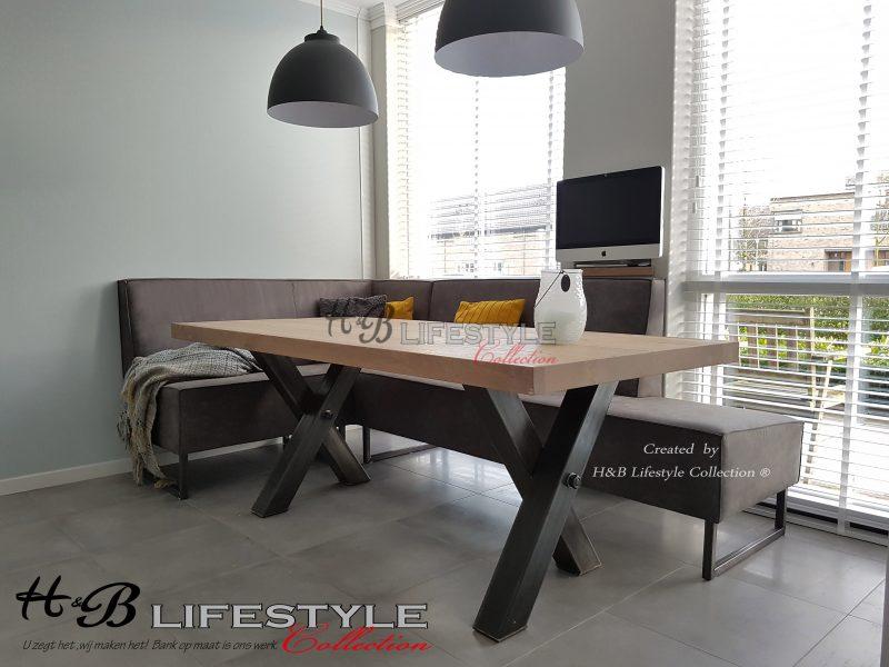 Leren eetkamerbank industriële stijl - HB Lifestyle Collection