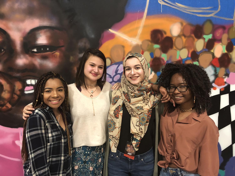 Kai Foster, senior; Ellie Pena, freshman; Amani Mryan, junior; and  Ayana Otokiti, junior, have performed their poem