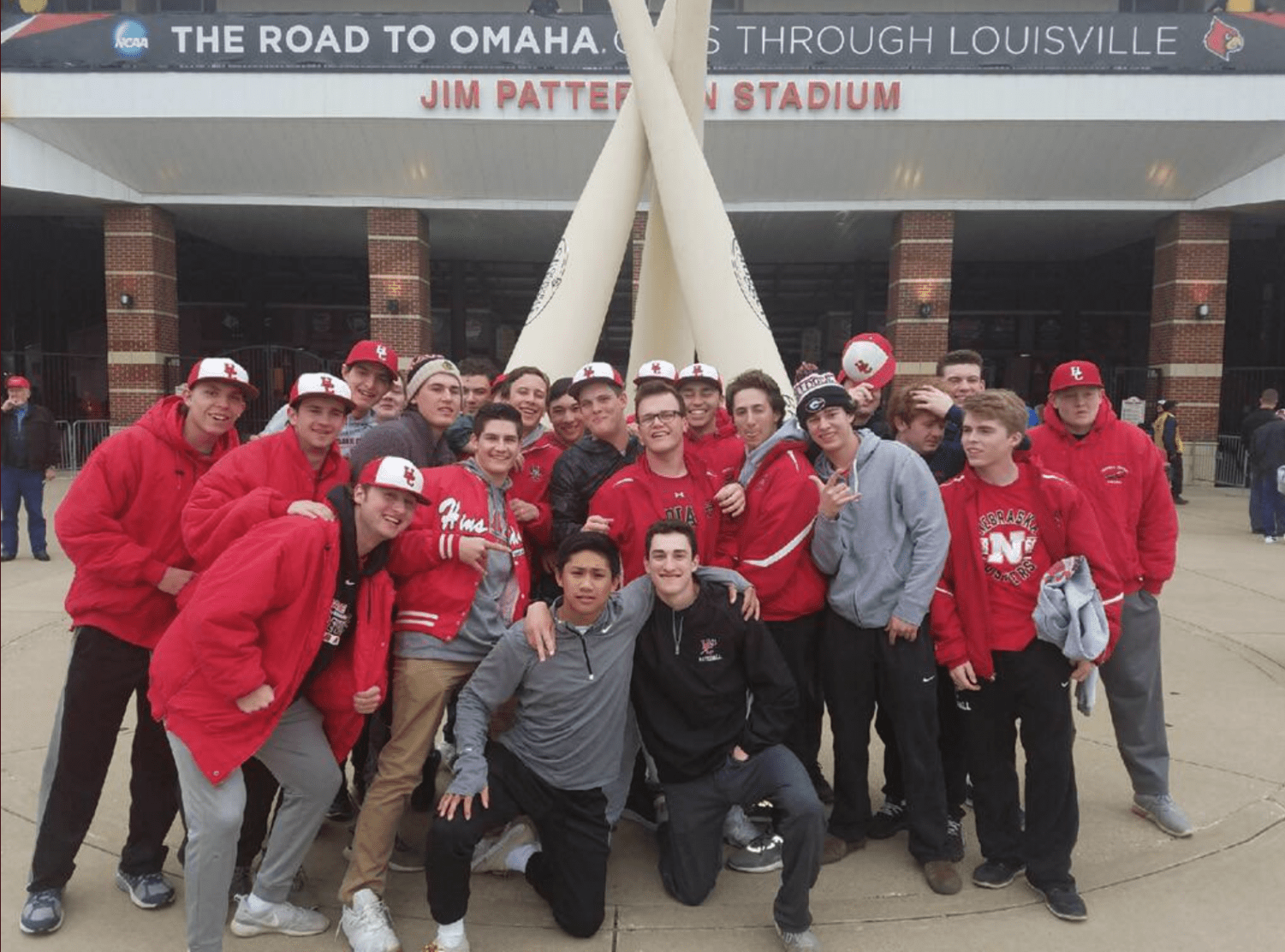 The team enjoyed time off from games at a Louisville Cardinals baseball game.
