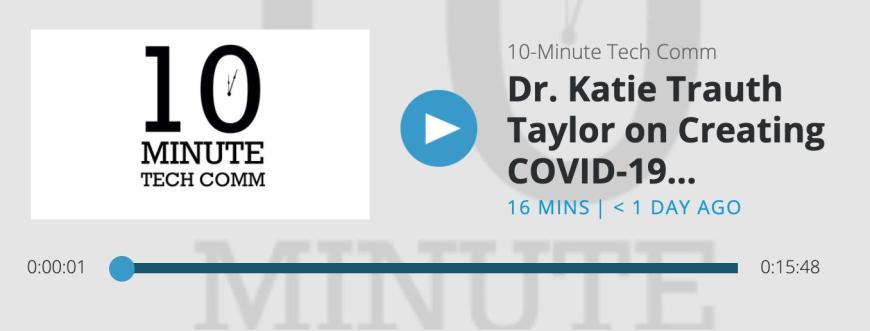 10分钟科技通信播客的屏幕截图