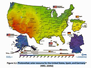 Although a Fox news commentator once attributed Germany's solar success to the fact that it gets more sunshine than the U.S., it actually has the solar potential of Alaska, as can be seen in this map. Source: National Renewable Energy Laboratory.