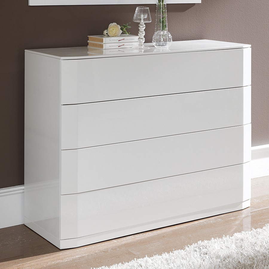 commode adulte design laquee blanche tacito 4 tiroirs avec systeme push
