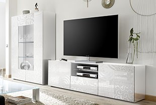 ensemble meuble tele blanc laque design elda