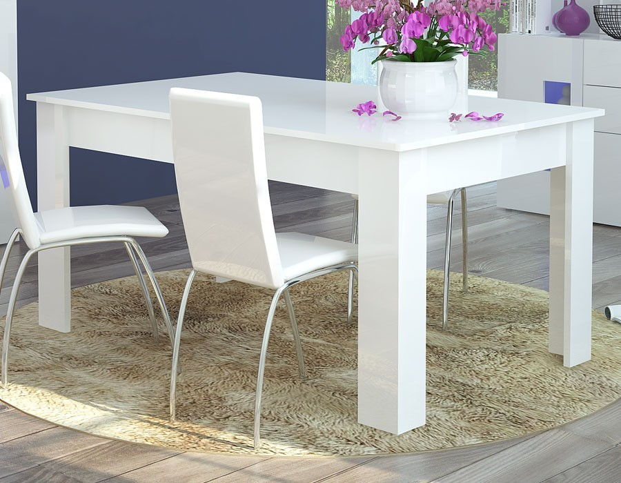 table a manger extensible blanc laque design galena
