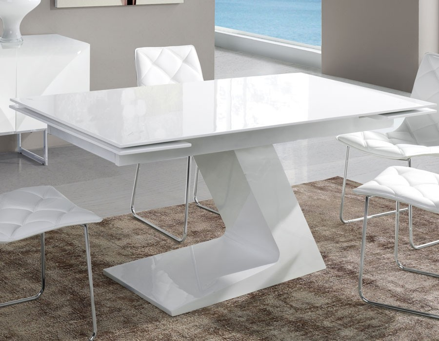 table salle a manger extensible design blanc laque zag