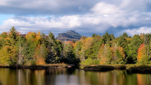 Fall color splashes in the lake at Camp Yonahnoka in Linville. Despite autumn's early start, the recent bout of cloudiness and precipitation seems to have prolonged the leaf season in many areas throughout the High Country. As such, visitors to Grandfather Mountain can expect some brilliant fall color this weekend. Photo by Skip Sickler | Grandfather Mountain Stewardship Foundation